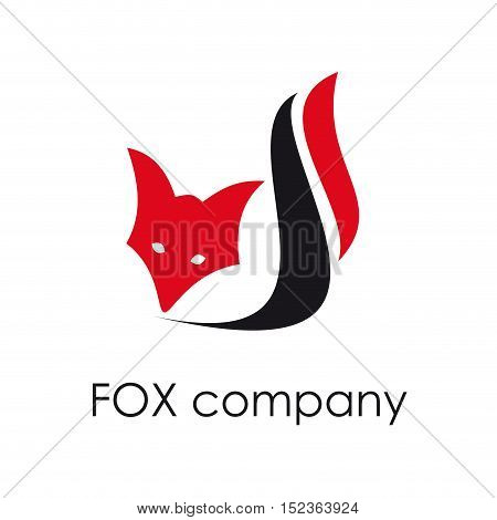 Vector sign Fox. Concept of cunning illustration isolated in white