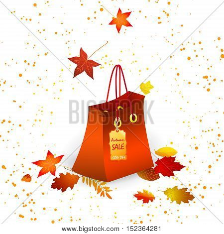 Shopping bag with autumn sale announcement on white background