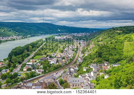 Aerial view of the small town Braubach and the Rhine Valley in cloudy weather at Rhineland-Palatinate Germany. It is one of the principal sites of the UNESCO World Heritage Rhine Gorge.