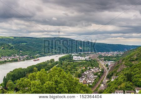 Braubach Germany - May 23 2016: Aerial view of the small town Braubach and the Rhine Valley in cloudy weather at Rhineland-Palatinate Germany. It is one of the principal sites of the UNESCO World Heritage Rhine Gorge.