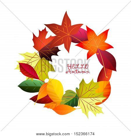 Autumn colorful wreath of leaves.Vector. Round frame