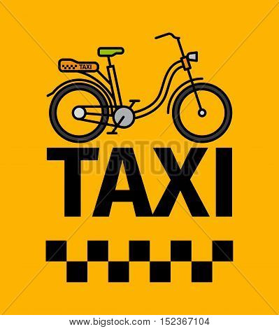 Bicycle taxi transport, advertising poster, vector illustration