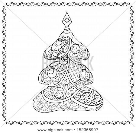 Fir tree coloring page for adults. Christmas coloring book page. Vector coloring page for Christmas card or paper decor. New Year fir tree with doodle ornament