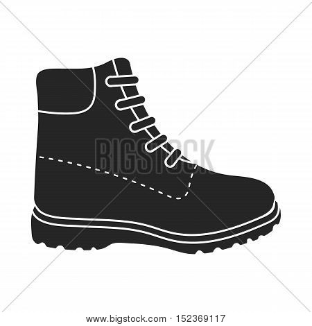Hiking boots icon in  black style isolated on white background. Shoes symbol vector illustration.