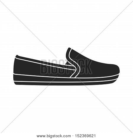 Moccasin icon in  black style isolated on white background. Shoes symbol vector illustration.