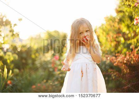 Cute little girl eating a tomato. Girl soiled white dress in tomato juice. Sunset illuminates the flowing hair.