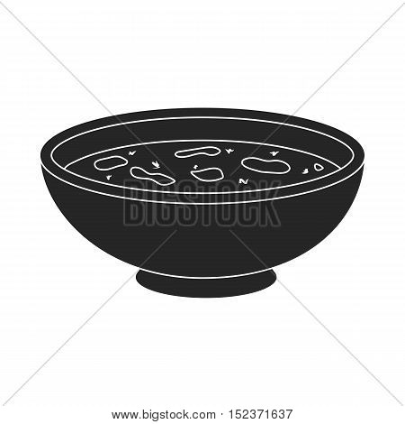 Miso soup icon in  black style isolated on white background. Sushi symbol vector illustration.