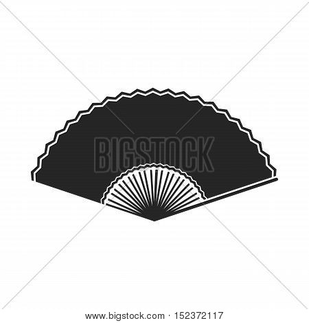 Folding fan icon in  black style isolated on white background. Theater symbol vector illustration