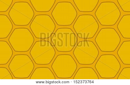 Honeycomb vector seamless pattern. Cartoon style handdrawn honeycomb pattern. Bright yellow honey comb for backdrop web design honey product package. Horizontal image of honeycomb drawing