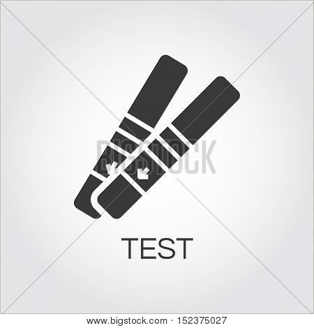 Rregnancy test. Simple black icon. Logo drawn in flat style. Black shape pictograph of pregnancy concept. Label for your design needs. Vector contour graphics