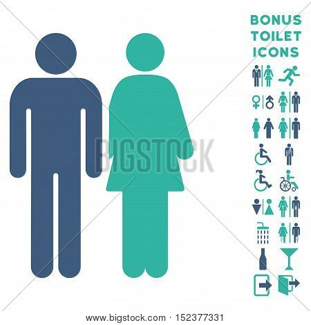 Married Couple icon and bonus man and lady lavatory symbols. Vector illustration style is flat iconic bicolor symbols, cobalt and cyan colors, white background.