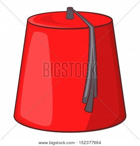 Red turkish hat fez icon. Cartoon illustration of fez vector icon for web design