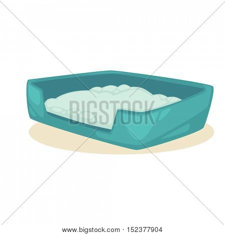 Cat stuff and pets accessory. Vector icon of colorful cat care object. Cat litter box. Flat clipart with shadow. Isolated on background.