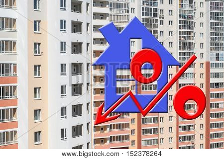 Red percent sign on the background of a house . The concept of price changes on the real estate market .