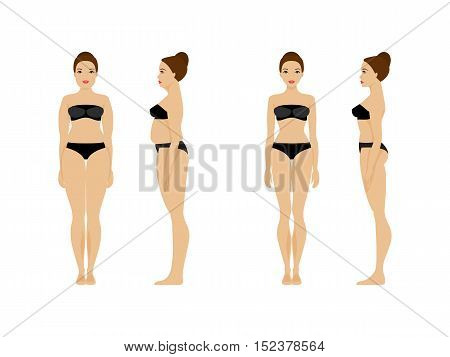 Woman with overweight and slender woman. Before and after. Diet and fitness. Healthy lifestyle