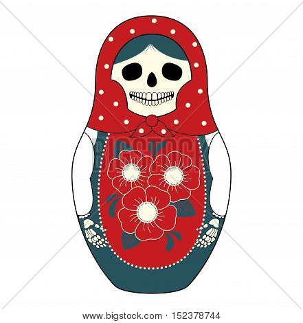 Vector illustration of a Russian nesting doll Matryoshka with a skull instead face. Grey and red colors traditional ornaments. Isolated on white.