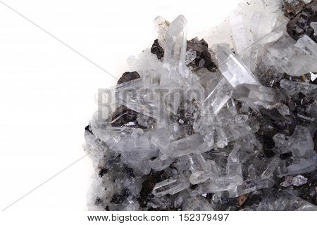 White Rock-crystal With Galenite Background