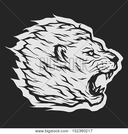 Roaring lion head Dark background. Vector illustration.