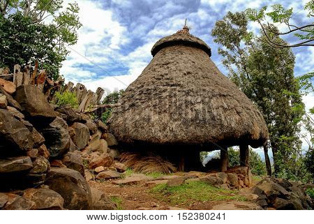 Traditional Konso tribe house in Karat Konso Ethiopia