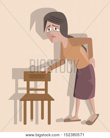 woman suffering from backpaine - vector cartoon funny illustration