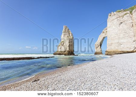Pinnacle rock and natural arch, Etretat, Normandy, France