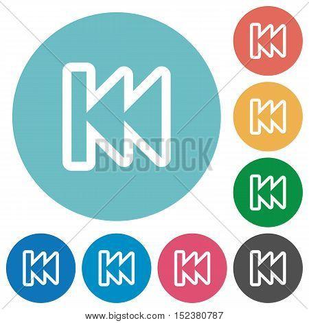 Flat media fast backward icon set on round color background.