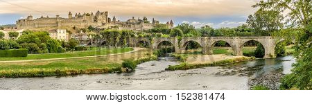 Panoramic view at the Old City of Carcassonne with Old Bridge over L Aude river in France