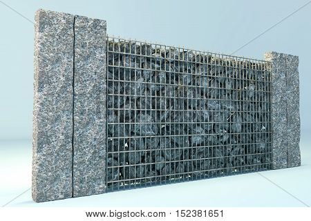 3d rendering of grey gabione with gravel stones and stone plates poster