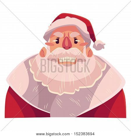 Santa Claus face, angry facial expression, cartoon vector illustrations isolated on white background. Santa Claus emoji face icon, feeling distresses, frustrated, sullen, upset. Angry face expression