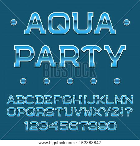 Blue letters and numbers. Festival banner font. Isolated english alphabet with text Aqua Party.