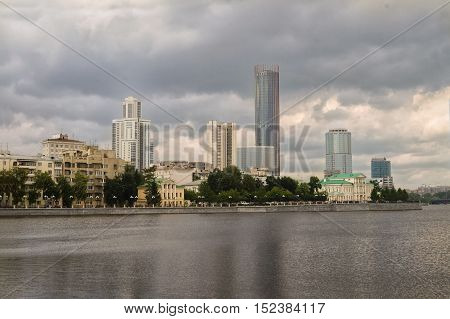 Yekaterinburg city center skyline and Iset river.