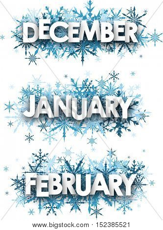 White January, February, December banners with blue snowflakes. Vector illustration.