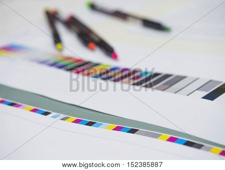 Color chart with neon pen on Digital Printing Offset Industry Layout work process
