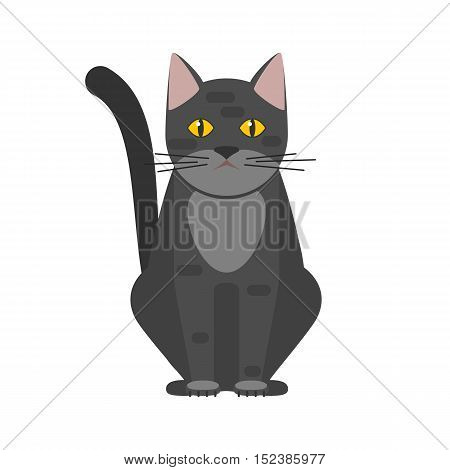 Black cat with yellow eyes sitting, home pet. Vector illustration in flat style isolated on white background