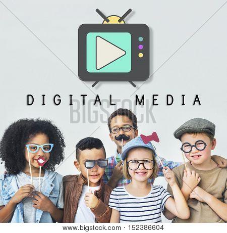 TV Play Button Media Entertainment Graphic Concept