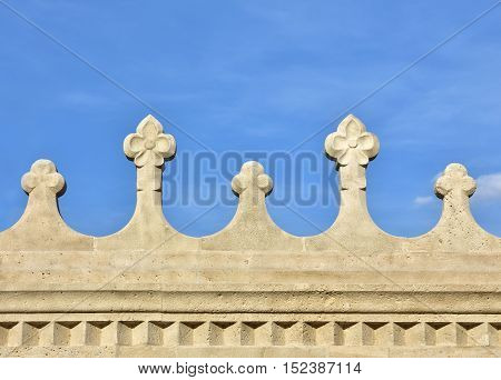 Detail of Fisherman's Bastion beautiful romanesque bastion in Budapest built at the end of 19th century