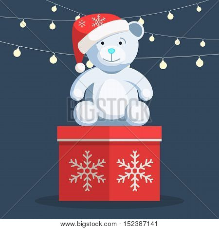 Christmas white Teddy bear sitting on gift box with snowflake and lights on the background. Vector illustration of a trendy style cartoon template for you web design banner or print