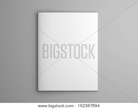 Blank US letter, brochure or magazine isolated on gray with shadows. 3d illustration mockup.