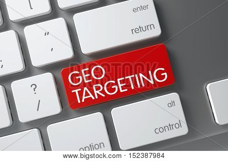 Geo Targeting Concept White Keyboard with Geo Targeting on Red Enter Button Background, Selected Focus. 3D Illustration.