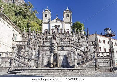 View of the monumental flight of steps leading to the Sanctuary of Our Lady in the Peneda Geres National Park North of Portugal