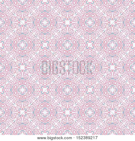 Seamless islam pattern. Vintage floral background. Vector islamic royal pink and blue pattern. Oriental design and baroque wallpaper