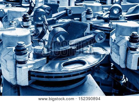 Automobile manufacturing plant parts brake disc production line.
