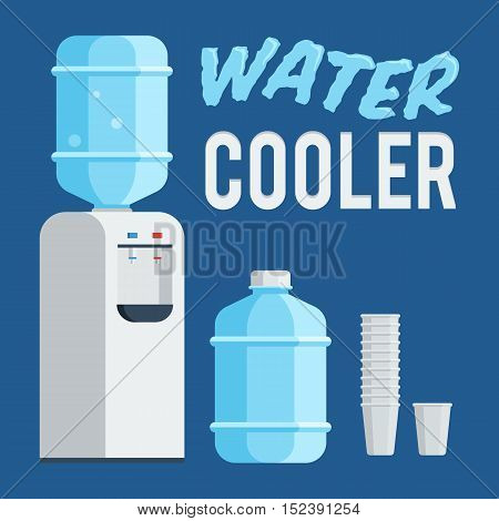 Water cooler, bottle and cup. Concept the water balance. Flat style trendy vector illustration isolated on dark blue background
