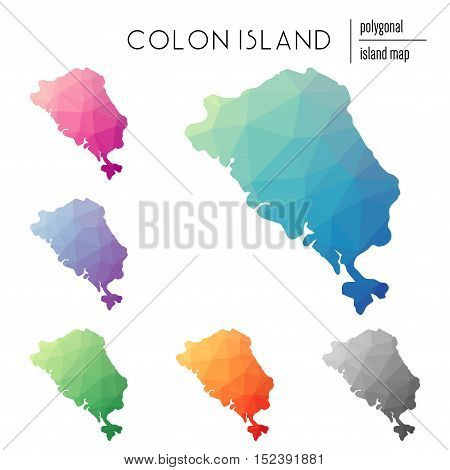 Set Of Vector Polygonal Colon Island Maps Filled With Bright Gradient Of Low Poly Art. Multicolored