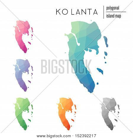 Set Of Vector Polygonal Ko Lanta Maps Filled With Bright Gradient Of Low Poly Art. Multicolored Isla