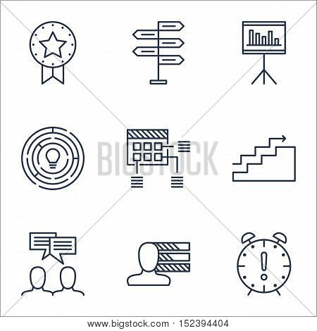 Set Of Project Management Icons On Innovation, Growth And Time Management Topics. Editable Vector Il