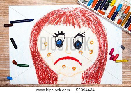 colorful drawing: sad young woman with acne