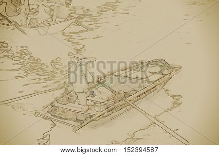 Boat in Ha Long Bay, Vietnam. Vintage painting, background illustration, beautiful picture, travel texture