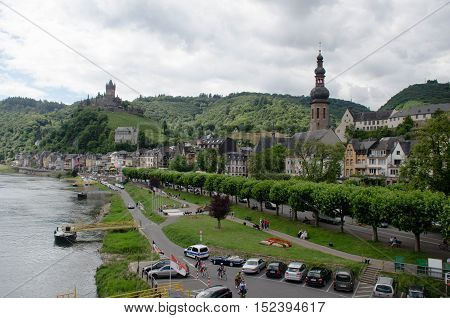 View of the Cochem Castle in Germany