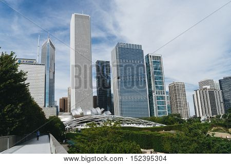 Millennium Park Chicago USA - September 24 2015: Public BP walkway in Millenium park. Millenium Park is one of the parks major attractions.